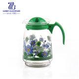 Venda a quente 1.6L Arremessador de água de vidro com tampa jarro de sumo com Adesivo Personalizado Design de flores de vidro para uso doméstico diário