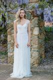 Schutzkappe Sleeves Hochzeits-Kleider bördelte böhmische Brautkleider Ld1515