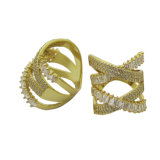 Juwelen 925 van de Verkoop van de Manier van de Groothandelaar van China Dwars Hete Zilveren Ring (R11001)