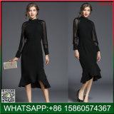 Schwarze Form brandmarkte Frauen Kleid-Spitze-Hülse