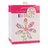 Bolsa de papel rosada del regalo del juguete de la ropa del presente de la flor del cumpleaños