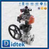 Didtek 스테인리스 Ce/API6d 압축 공기를 넣은 액추에이터 뜨 공 벨브