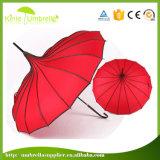 Les panneaux de 23pouces 16 cadeau promotionnel Mesdames pagode parapluie droites