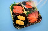 2018 New Wholesale Colorful Printing Plastic Sushi Box Sushi Tray with Lid