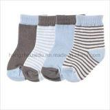 Простые полосы дышащий материал из хлопка костюм для малыша Sock