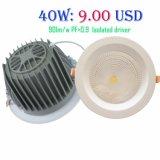 Alta calidad de los buenos precios PF>0,9 Ra>80 90lm/W Bridgelux Chipset 10W/20W/30W/40W/50W Downlight LED con 3 años de garantía.