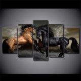 [د] طبع 5 [بيس كنفس] فنية أسود [بروون] حصان حجر السّامة صورة زيتيّة جدار صور لأنّ يعيش غرفة جدار فنية