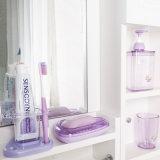 6223 Dreieck-Badezimmer 4 Stücke eingestellt, Plastikshampoo-Flasche, Seifen-Teller, Zahn-Becher, Zahnbürste-Halter