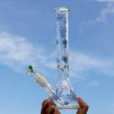 ビーカーの卸売のCostumsのロゴガラスの管のための基礎煙る配水管のホウケイ酸塩のタバコのShishaの水ぎせる