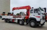 Il camion resistente di Sinotruk 8X4 ha montato con 14 tonnellate che caricano il camion piano di trasporto della gru