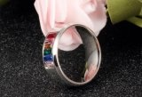 Os anéis de casamento de cristal do arco-íris da forma para homens e homens vendem por atacado o anel alegre do aço inoxidável