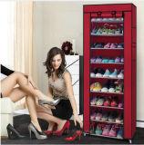 9 das Reihe-Schuh-Regal-Segeltuch-Gewebe-Schuh-Zahnstangen-Speicher-Schrank-Schiene bereift den Organisator-Reißverschluss, der steht Sapateira Organizador Möbel (FS-01A)