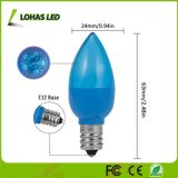 Neueste 0.5W E12 LED C7 blaue helle Kerze-Birne mit transparentem Gehäuse