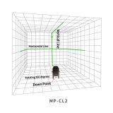 As linhas do toque 2 esverdeiam o nível do laser com de controle remoto