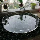 Оптовый высокий прозрачный поднос круглой формы акриловый для еды