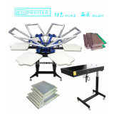 6개의 색깔 좋은 수동 직물 기계를 인쇄하는 회전하는 실크 스크린