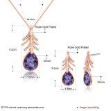 De purpere Gouden Vastgestelde Halsband en de Oorringen van de Juwelen van de Manier van de Ketting Zircon