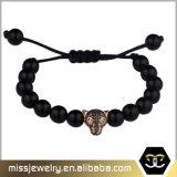 マットの瑪瑙のビードのヒョウヘッド魅力のブレスレットの宝石類Msbb024