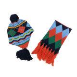 Шарф шлема шарфа Earmuff зимы детей малышей теплым связанный комплектом (SK421S)