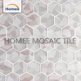 薄い灰色のインクジェット印刷の六角形のガラスモザイク壁のタイル