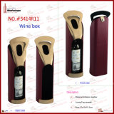 2015 새로운 PU Leather Single Bottle Wine Holder (5414R8)