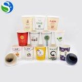 Tazza di tè su ordinazione naturale sana del documento di marchio a gettare