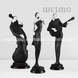 Musiker-Spaß-Kunst-Fertigkeit-schwarze und silberne Statue-Skulptur