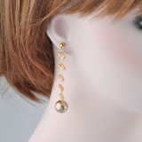 Мода подарок 18K Gold Crystal Pearl длинные серьги