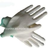 Защита от электростатических разрядов PU покрытием 13 указатели вязаные рукавицы белого цвета