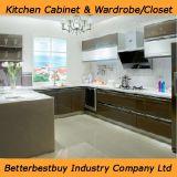 Gabinete de cozinha com placa elevada do lustro e da laca