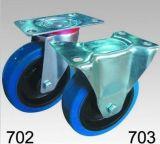 Blaue elastische steife Rad-Gummifußrolle