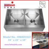 エプロン前部ハンドメイドの洗浄流し、ハンドメイドの流し、農家の流しは、手作りする流し(HMAD3322)を