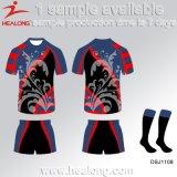 Il servizio del ODM di Healong mette in mostra le uniformi minori della lega di rugby di sublimazione dell'attrezzo dei vestiti
