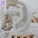 Hand Gesneden Emulational Beeldhouwwerken van Weinig van de Engel Engel van de Standbeelden de Marmeren