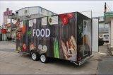 Новая тележка еды прибытия перевозит передвижной трейлер на грузовиках еды