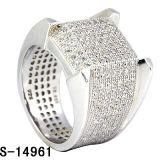 Il micro d'argento puro della materia 925 degli uomini dei monili di Hip Hop pavimenta l'anello degli uomini della CZ. (S-14961)