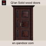 Роскошная дверь твердой древесины Двойн-Листьев виллы главная с головкой двери