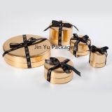 Rectángulo de empaquetado de la joyería del regalo de la dimensión de una variable redonda del oro para el colgante de la pulsera