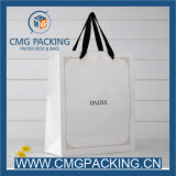 Black Ribbon Handle를 가진 주문 Printing White Card Paper Bag