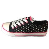 Bons preços coloridos personalizados estrelas brancas impressas sapatos de lona infantil
