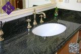 Parte superior preta absoluta da vaidade do granito, bancada do mais baixo preço para o banheiro
