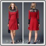 Vestido longo da luva de lãs européias do inverno da forma das senhoras do projeto