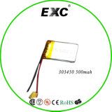 батарея полимера лития 3.7V 303450 500mAh