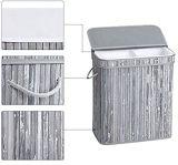 Gran capacidad de servicio de lavandería plegable 2 Secciones obstaculizar con tapa, angustiada Color