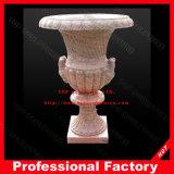 De rode Marmer Gesneden Vaas van de Bloem van de Pot van de Bloem voor Tuin