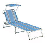Steel Pipe Beach Lounge Flesh with Sunshade Canopy