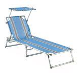 Cadeira da sala de estar da praia da tubulação de aço com dossel do pára-sol