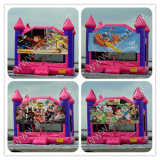 Bouncy House with Changeable Art Panel, Inflatbale Playhouse com Slide