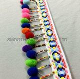 Высококонтрастный многоцветный пиктограммный рельефная Pompom моды кружевом из жаккардовой ткани ленты по пошиву одежды украшения декоративные накладки