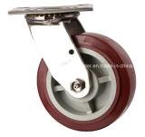 Stainless Steel Heavy Duty Steel Caster, plastique Haut Freins, double roulement à billes